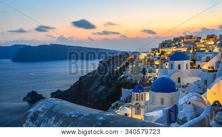 Beautiful Sunset In Oia Village On Santorini Island