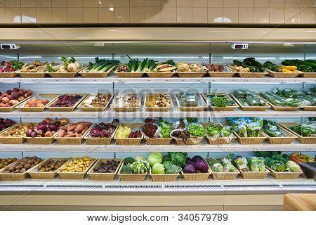 BERLIN, GERMANY - CIRCA SEPTEMBER, 2019: vegetables on display at SanLucar at Kaufhaus des Westens (KaDeWe) department store in Berlin.