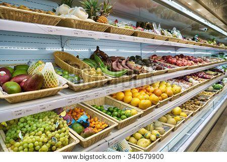 BERLIN, GERMANY - CIRCA SEPTEMBER, 2019: fruits and vegetables on display at SanLucar at Kaufhaus des Westens (KaDeWe) department store in Berlin.