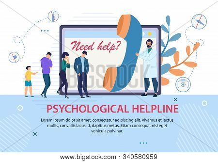 Psychological Helpline Promotion. Advertising Text Banner. Doctor With Huge Handset And Patients Que