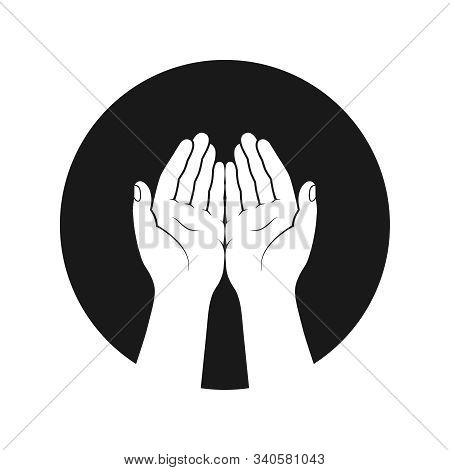 Gesture Of The Hands Folded In Prayer Graphic Icon. Hands Cupped Together Sign In The Circle Isolate