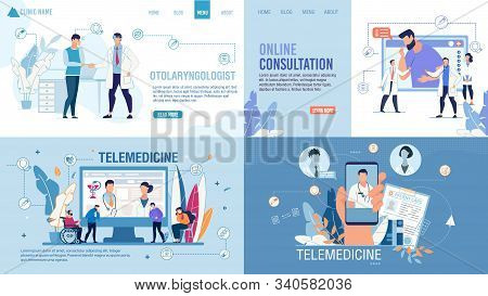 Landing Page Set Advertising Telemedicine Services. Online Consultation Via Internet On Smartphone A