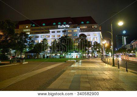 BERLIN, GERMANY - CIRCA SEPTEMBER, 2019: the Kaufhaus des Westens (KaDeWe) department store as seen from a street in Berlin.
