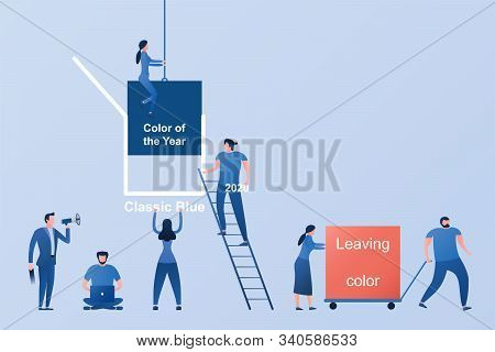 Flat People In Process At Work In Office Or Factory Of Changing Color Of The Year 2020 To Classic Bl