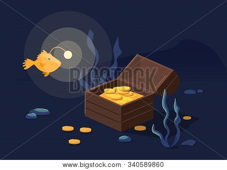 Underwater Background With Treasure Chest And Angler Fish. Vector Illustration