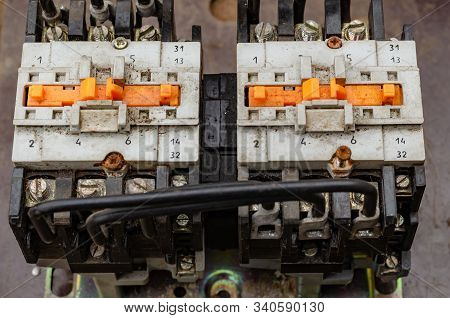 Two Electromagnetic Starters Or Contactors. Used Starters Are Installed On One Circuit Board. Mainte