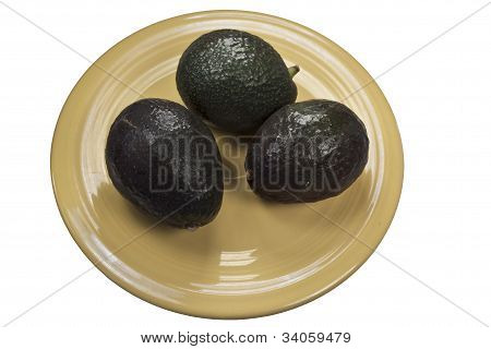 Avocados On Yellow Plate