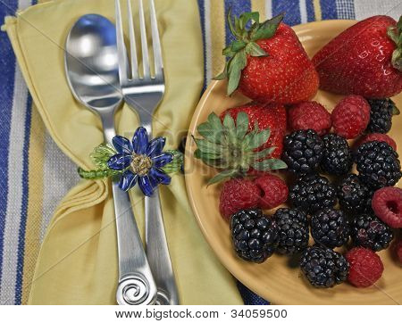 Berries On A Yellow Plate With Silverware