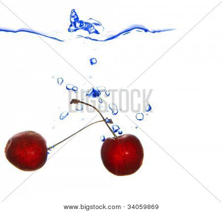 small red cherry fal in blue water