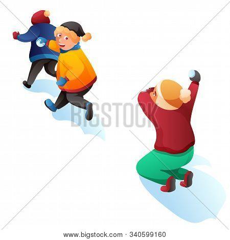 Children Playing Snowballs Cartoon Illustration. Kids Having Fun. Boy And Girl Throwing Snowballs Ve