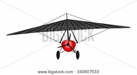 Power Hang Glider Flat Vector Illustration. Ultralight Aviation Aircraft Isolated On White Backgroun