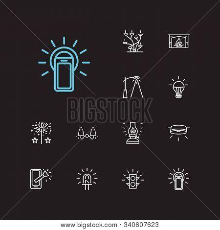 Bright Icons Set. Led Bulb And Bright Icons With Kerosene Lamp, Traffic Light And Street Lamp. Set O