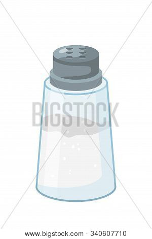 Salt Shaker Flat Vector Illustration. Filled Glass Containers For Salty Condiments. Cooking Ingredie