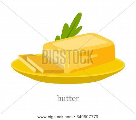 Natural Butter On Plate Flat Vector Illustration. Sliced High Calorie Foodstuff, Organic Dairy Produ