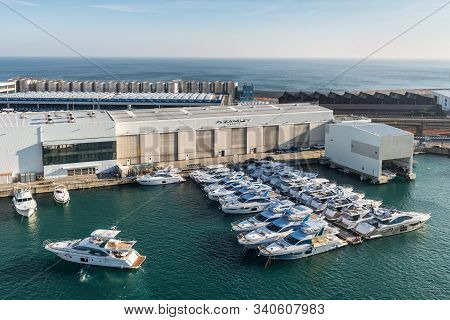 Savona, Italy - December 1, 2018: View Of The Yachts Moored In The Port Of Savona, Liguria, Mediterr