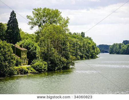 Pont-sur-Yonne (Yonne Burgundy France) - View on river from the bridge poster