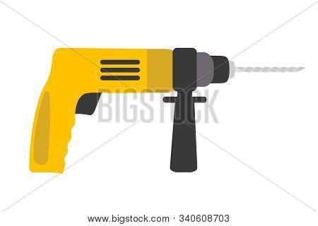 Electric drill flat vector illustration. Construction tool isolated on white background. Professional repair, renovation, refurbishment equipment. DIY instrument. Carpenter workshop design element poster