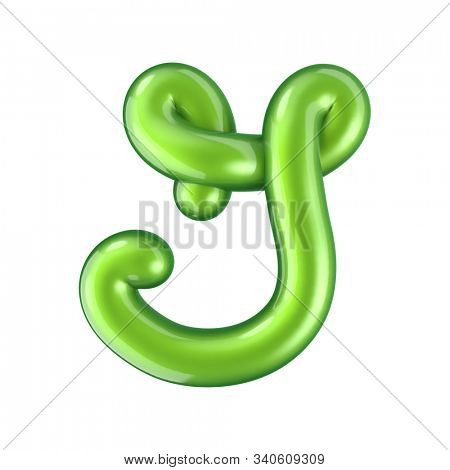 Glossy green letter G uppercase. 3D rendering font with glint isolated on white background.