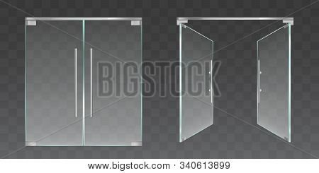 Clear Glass Doors For Office Or Shop Isolated On Transparent Background. Vector Realistic Set Of Clo