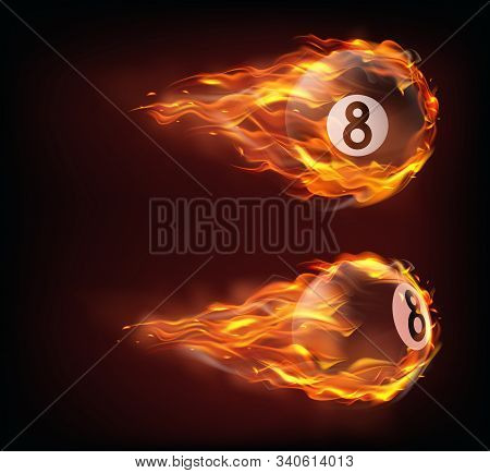 Flying Black Billiard Eight Ball In Fire Isolated On Black Background. Vector Realistic Pool Or Snoo