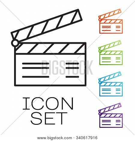 Black Line Movie Clapper Icon Isolated On White Background. Film Clapper Board. Clapperboard Sign. C