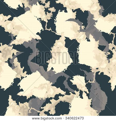 Urban Camouflage Of Various Shades Of Blue, Beige And White Colors