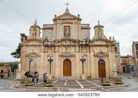 Il-rabat, Malta - October 28, 2019: Parish Church Of St Paul & Grotto Of St Paul In Il-rabat During