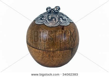 Wood And Silver Round Box Isolated