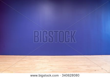 Empty Room With A Blue Wall, Background.