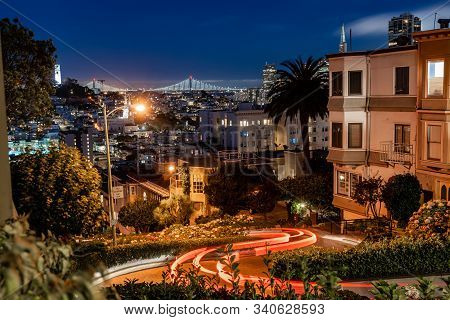 View Of San Francisco At Night From Lombard Street.