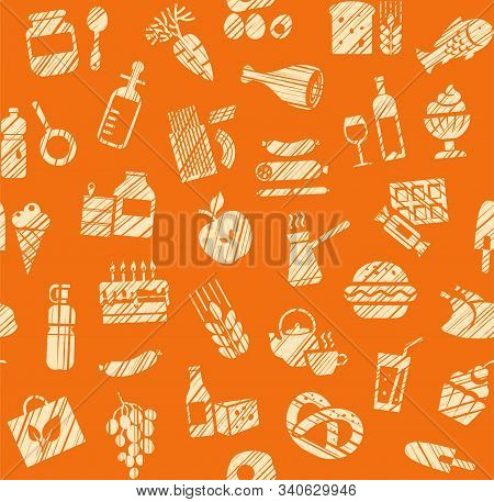 Food, Seamless Pattern, Grocery Store, Pencil Shading, Colored, Orange, Vector. Food And Drinks, Pro
