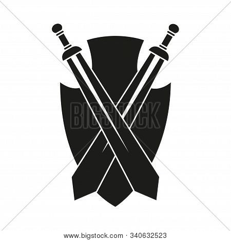 Black And White Historycal Wall Decor. Medieval Sword And Shield Festival Props. Fairytale Theme Vec