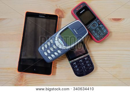 Bangkok, Thailand - December 10, 2019  Many Used Nokia Mobile Phones Model 3310 With Keypad And Touc