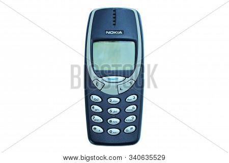 Bangkok, Thailand - December 10, 2019 : Used Nokia Mobile Phone Model 3310 With Keypad Isolated On W