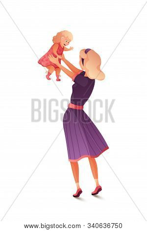 Mother And Baby Flat Vector Illustration. Young Woman Playing With Cute Toddler. Beautiful Mommy Enj