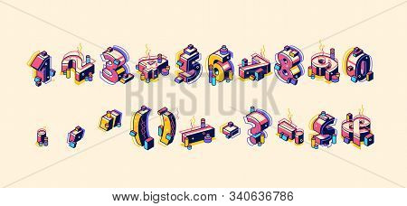 Isometric Numbers And Punctuation Marks In Colorful Memphis Style, Hipster Typography Standing And L