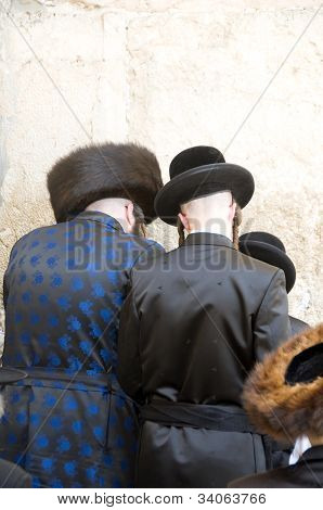 Hasidic Chassidic Jews Praying At The Western Wall Jerusalem Israel