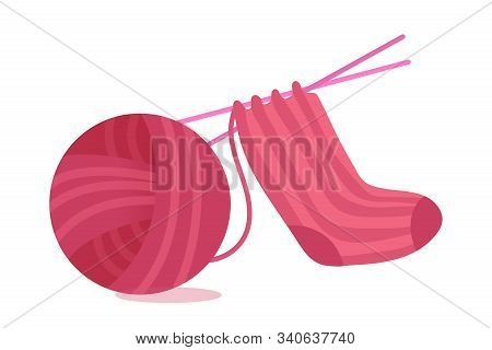 Sock Knitting Process Flat Vector Illustration. Pink Thread Ball And Warm Apparel Isolated Clipart O