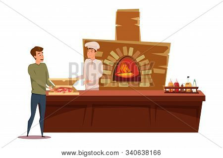Man Buying Fresh Made Pizza Vector Illustration. Professional Chef In Uniform And Satisfied Customer