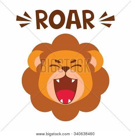Flat Cute Lion Open Mouth Roar. Trendy Scandinavian Style. Cartoon Animal Character Vector Illustrat