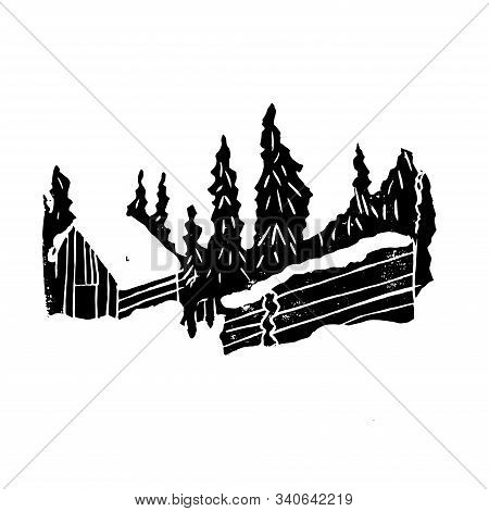 Snow House In The Winter Forest. Hand Made Linocut. Black Composition On White Background. Vector Il