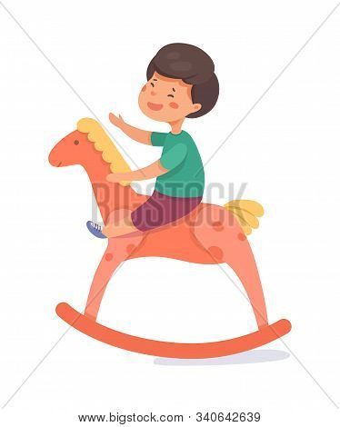 Boy Rocking On Swinging Horse Vector Illustration. Cheerful Child With Wooden Toy Cartoon Character.