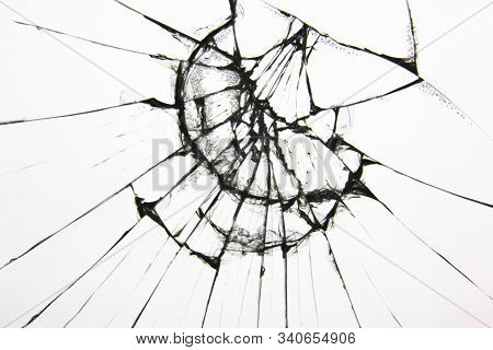 Broken Glass Texture On A White Background. The Protective Glass Of The Phone Is Cracked From Boredo