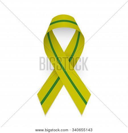 Olive And Green Awareness Ribbon Of Liberation Of Leningrad. Leningrad Blockade. January 27. Isolate