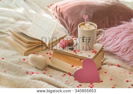 Happy Valentines Day Postcard. Love Concept For Mothers Day And Valentines Day. Hearts And The Books