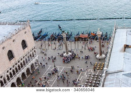 Aerial View Of The Piazzetta Dei Leoncini From The Clock Tower In Venice
