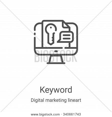 keyword icon isolated on white background from digital marketing lineart collection. keyword icon tr