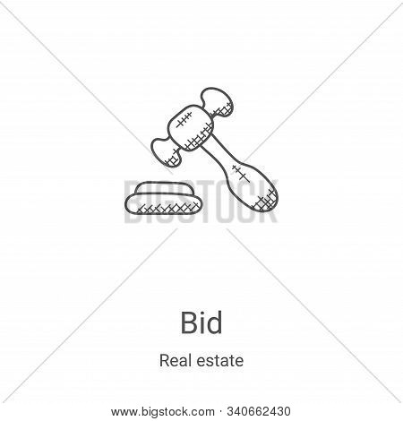 Bid icon isolated on white background from real estate collection. Bid icon trendy and modern Bid sy