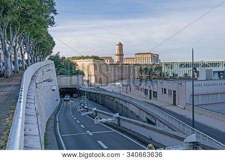 Marseille, France - November 1, 2019: View At The Car Road Esplanade De La Tourette, Fort Saint-jean