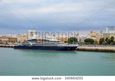 Cadiz, Spain -  November 2, 2018:  Cruise Liner Le Champlain Anchored  In The Port Of Cadiz Late In